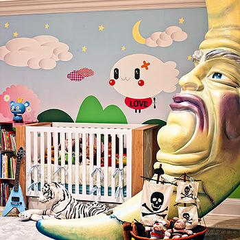Douglas Friedman - nurseries - wall, mural, modern, crib, bookcase, yellow, moon, celebrity nursery,  Christina Aguilera's son's nursery design