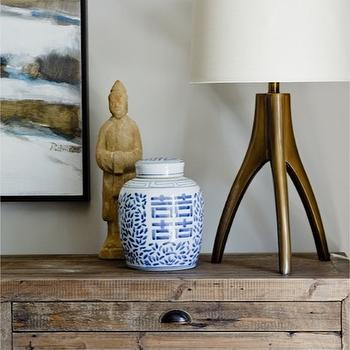 Cameron MacNeil Designer - living rooms - bronze, tripod, table, lamp, ming, vase, chinese ginger jar, ginger jar, Sundance Catalog Lancaster Sideboard,