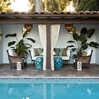 Kristen Hutchins Design - pools - cabana, ivory, outdoor, drapes, turquoise, blue, rope, stools, outdoor, sofa, chairs, ikat, pillows,  Lovely