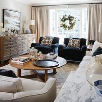 Cameron MacNeil Designer - living rooms - cafe au lait, walls, sand, linen, drapes, blue, velvet, club chairs, mid-century modern, coffee table, oatmeal, linen, sofa, ikat, pillows, blue chairs, blue velvet chairs, velvet chairs, Sundance Catalog Lancaster Sideboard,