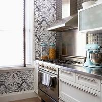Cameron MacNeil Designer - kitchens - white, blue, damask, wallpaper, white, kitchen cabinets, stainless steel, countertops, black, grid, backsplash, damask wallpaper, white and gray damask wallpaper,