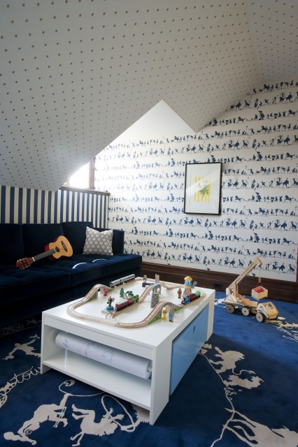 David Howell - boy's rooms - white, blue, animals, wallpaper, white, blue, rug, attic, playroom, white, arts, crafts, table, blue, sofa, attic playroom, attic play room,