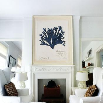 Montana Burnett Design - living rooms - white, floor mirrors, flanking, faux fireplace, blue, coral, art, white, wingback, slipcover, chairs, cheetah, pillows, white, pierced, lamps, leopard pillows, leopard print pillows, leopard print,