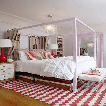 Montana Burnett Design - girl's rooms - pale, pink, canopy, bed, white, red, chevron, zigzag, rug, woven, storage, baskets, two-tone, nightstands, red, glossy, lamps, acrylic, lucite, ottomans, pink bed, pink canopy bed, girls pink bed, red chevron rug,