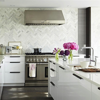 Croma Design - kitchens - marble, chevron, herringbone, pattern, backsplash, glossy, white, lacquer, modern, kitchen cabinets, white, quartz, countertops, sink in kitchen island, herringbone backsplash, marble tile herringbone backsplash, marble herringbone backsplash, kitchen herringbone backsplash, herringbone kitchen backsplash,