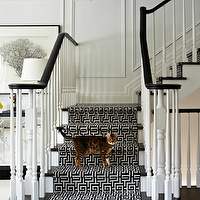 Virginia Macdonald Photography - entrances/foyers - decorative, wall moldings, glossy, black, staircase, handrail, glossy, black, stair treads, glossy, white, wood, balusters, white, black, Greek key, fretwork, stair runner,