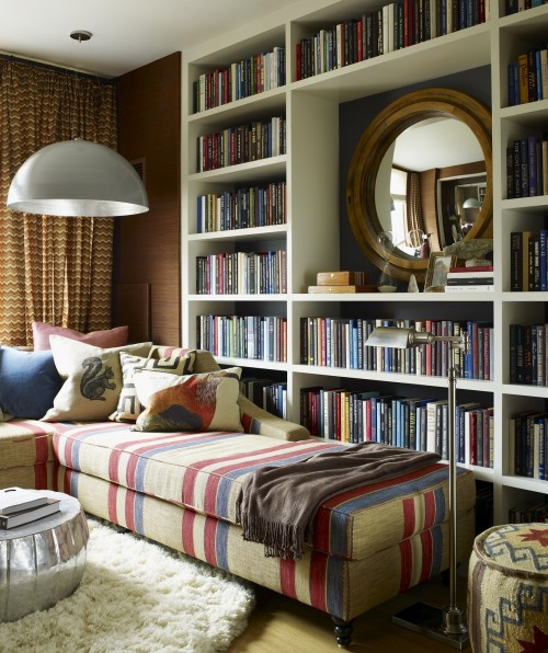 Thom Filicia - dens/libraries/offices - Roost Pasha Coffee Table, Kilim Ottoman, white, built-in, bookcase, organized, library, white, round, flokati, rug, wood, round, mirror, red, blue, ta, striped, chaise lounge, striped lounge, striped chaise lounge,