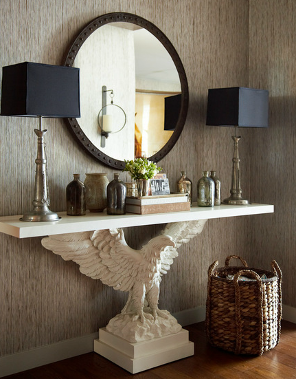 Taupe Grasscloth - Eclectic - entrance/foyer - Thom Filicia