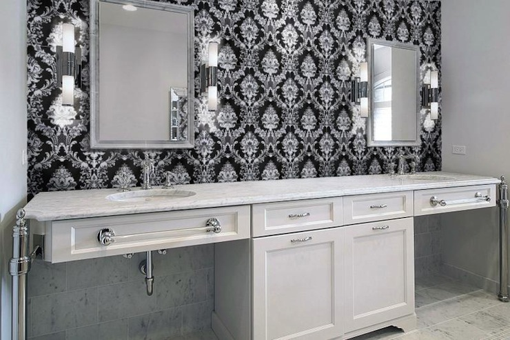 Damask Tile For Bathroom Contemporary Bathroom Artsaics Tiles Stone