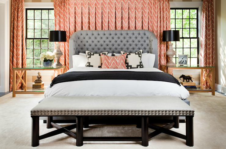 Thom Filicia - bedrooms - coral, chevron, herringbone, pattern, drapes, gray, tufted, wingback, bed, coral, chevron, pillow, black, wood, bench, gray, linen, silver, nailhead trim, alabaster, lamps, tufted headboard, gray tufted headboard, chevron curtains, pink curtains, pink chevron curtains, coral pink curtains, coral pink chevron curtains,
