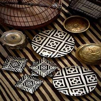 Decor/Accessories - Handpainted Black and White Patterned Ceramic Assorted Plates - hand painted, ceramic, plates