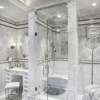 Artsaics Tiles & Stone - bathrooms - white, vanity, oval, pivot, mirror, marble, basketweave, inset tiles, seamless, glass shower, marble, tiles, shower surround, marble, ceiling, marble shower, marble bathroom, marble shower design,