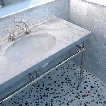 Artsaics Tiles & Stone - bathrooms - marble, 2 leg, washstand, marble, mosaic, tiles, floor, marble, subway tiles, backsplash, bathroom vanity with marble top, marble top bathroom vanity,