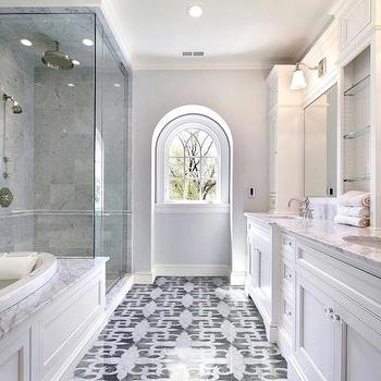 Artsaics Tiles & Stone - bathrooms - seamless glass shower, rain, shower head, marble tiles, shower surround, tub, white, double bathroom vanity, marble, countertop, marble, mosaic, tiles, floor, master bath shower, master bath showers, master bath shower design, master bath shower designs,