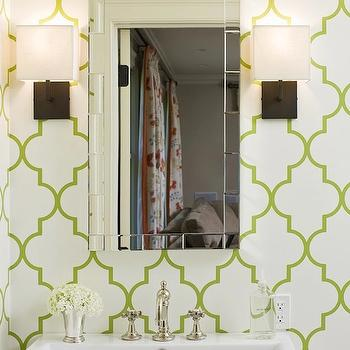 Doryn Wallach - bathrooms - white, porcelain, sink, trellis wallpaper, green trellis wallpaper, moroccan wallpaper, green moroccan wallpaper, quatrefoil wallpaper, green quatrefoil wallpaper, moorish tiles wallpaper, green moorish tiles wallpaper,