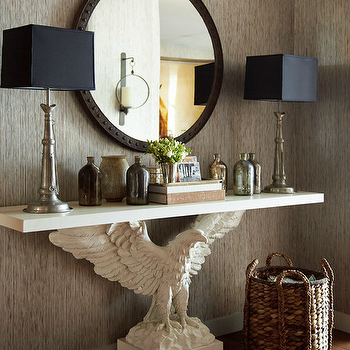 Thom Filicia - entrances/foyers - gray, textured, walls, metal, rivets, round, mirror, white, eagle, console, table, pewter, buffet lamps, woven, basket, mercury glass, bottles, taupe grasscloth, taupe grasscloth wallpaper,