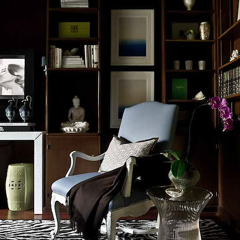 Manny Rodriguez Photography - dens/libraries/offices - TV, spring, green, garden stools, brown, built-ins, zebra, rug, blue, leather, camelback, chair, metal, accent table, white, black, Greek key, fretwork, pillow, green, velvet, drapes, paneled office, wood paneled office, paneled den, wood paneled den,