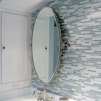 Artsaics Tiles & Stone - bathrooms - blue, gray, linear, glass, mosaic, tiles, backsplash, oval, pivot, mirror, gray and blue bathroom, gray and blue bathroom design, gray and blue bathroom ideas,
