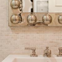 Doryn Wallach - bathrooms - mini, tumbled, marble, tiles, backsplash, metal, studded, mirror, tumbled marble backsplash, tumbled marble tiles, tumbled marble tile bathroom, tumbled marble backsplash, tumbled marble backsplash designs,
