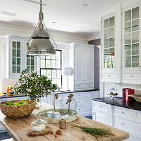 Thom Filicia - kitchens - rustic, wood, farmhouse, kitchen island, white, glass-front, kitchen cabinets, black, honed, granite, countertops, vintage, wood platter, glass, cloches, Thomas O'Brien Garey Industrial Pendant,