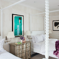 Thom Filicia - girl's rooms - twin, white, canopy, beds, white, purple, dot, bedding, silver leaf, 4 drawer, chest, purple, ikat, throw, green, drapes, decorative, wall moldings, canopy bed, white canopy bed,