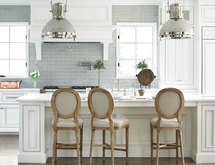 Traditional Home - kitchens - Ralph Lauren Montauk XL Pendant, Bottega Tiles, blue, glass, subway tiles, backsplash, pot filler, white, kitchen cabinets, white, kitchen island, marble, countertops, oval, back, counter stools, gray subway tile backsplash, gray subway tile, gray subway tile kitchen, gray  subway tile backsplash, gray subway tile kitchen, gray glass subway tile, gray glass subway tile kitchen, gray glass subway tile backsplash, gray glass subway tile kitchen, gray glass tile, gray glass tile kitchen, gray glass tile backsplash, gray glass tile kitchen,
