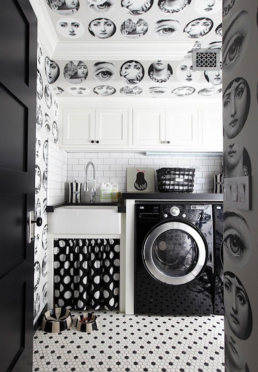 Traditional Home - laundry/mud rooms - California Paints - Black - Kohler Whitehaven Self-Trimming Under-Mount Single-Bowl Sink with Tall Apron, Cole and Son Tema Wallpaper, Jonathan Adler Black and Natural Dog Bowl, white, black, vintage, hex, tiles, floor, black, white, dots, skirted, sink, b lack, granite, countertops, LG, black, washer, dryer, white, cabinets, black and white laundry room,