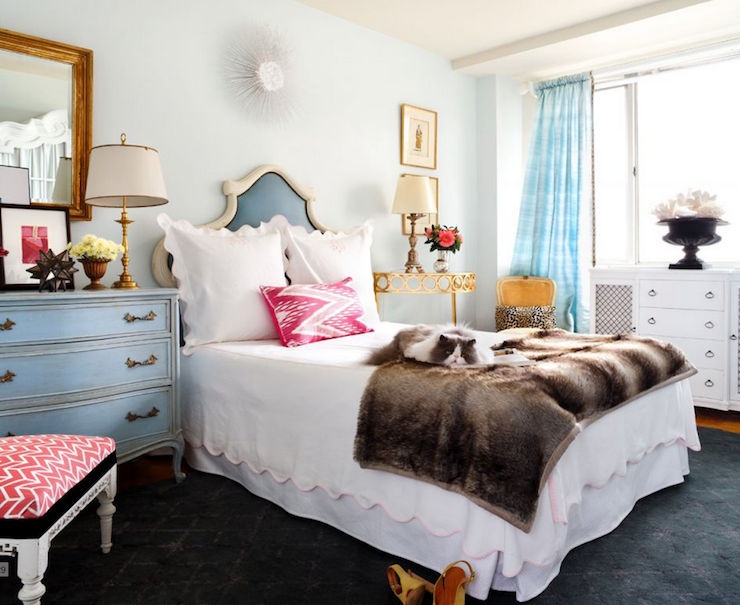 Sara Tuttle Interiors - bedrooms - watery, blue, walls, blue, silk, drapes, white, blue, vinyl, bedroom, pink, ikat, pillow, mismatched, nightstands, blue, French, chest, gold, console, table, antique gold, lamps, faux fur, throw,
