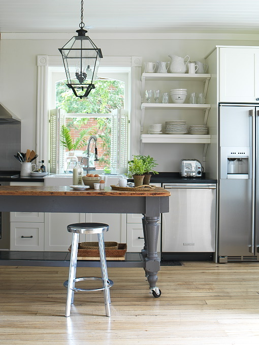 Charcoal Gray KItchen Island  Cottage  kitchen  Margot Austin