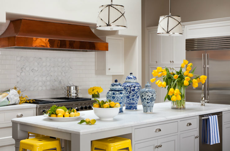Yellow And Gray Kitchen Transitional Kitchen Grant K
