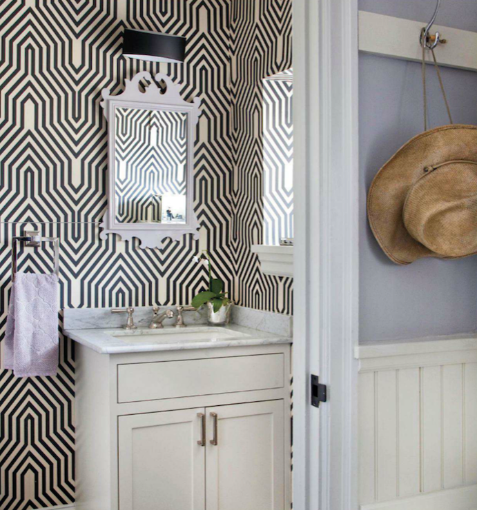 Suzie: Traditional Home - Mona Ross Berman - Fun bathroom with Osborne &amp; Little Minaret ...