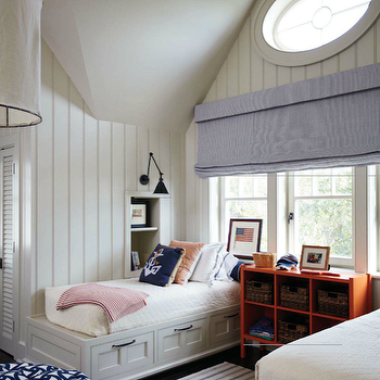 Tammy Connor -  Fun boys' bedroom with groove walls blue roman shade, white twin ...