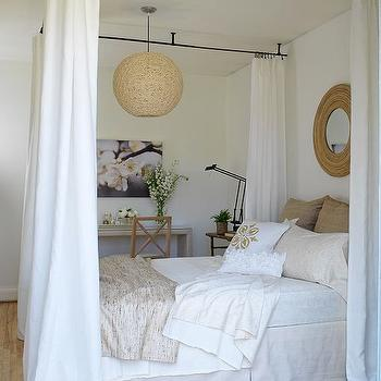Margot Austin - bedrooms - woven, pendant, woven, round, mirror, ceiling mounted, iron, canopy, white, sheers, burlap, pillows, soft, white, bedding, jute, rug, ceiling bed canopy, bed canopy, ceiling mounted canopy, ceiling mounted bed canopy, iron bed canopy, iron ceiling canopy,