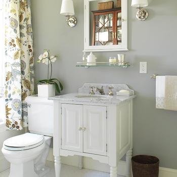 Gray Bathroom, Cottage, bathroom, Farrow & Ball Lamp Room Gray, Margot Austin