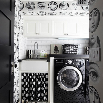 Black and White Laundry Room, Contemporary, laundry room, California Paints Black, Traditional Home