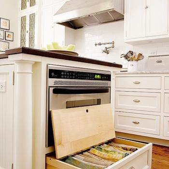 Traditional Home - kitchens - white, kitchen cabinets, marble countertops, subway tiles, backsplash, pot filler, ivory, beadboard kitchen island, butcher block, countertop, microwave, kitchen island storage, kitchen island drawers, kitchen island storage drawers, island drawers, island storage drawers, , kitchen island microwave,