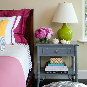 Grant K. Gibson - bedrooms - tan, walls, Granny Smith Apple, green, lamp, slate, blue, faux bamboo, table, nightstand, cherry, bed, fuchsia, shams, pink, throw, yellow, pillow, gray nightstand, gray bamboo table, gray bamboo nightstand,