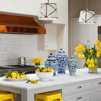 Grant K. Gibson - kitchens - copper, hood, white, subway tiles, backsplash, marble, inset, tiles, white, shaker, kitchen cabinets, white, kitchen island, marble, countertops, sink in kitchen island, dishwasher, Chinese, ginger jars, yellow and gray kitchen, Grosvenor Single Pendant,