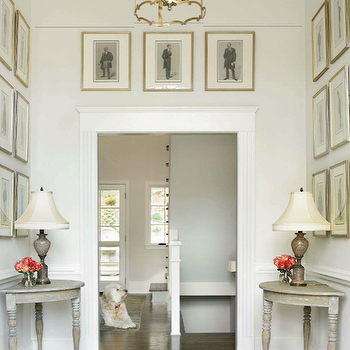 Traditional Home - entrances/foyers - antique, brass, lantern, pendant, art gallery, demilune, console, tables, demi-lune tables, half moon tables, gray half moon table, gray demilune tables,