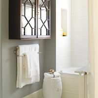 Margot Austin - bathrooms - gray, walls, white, garden stool, glass-front, lattice, wall, bathroom cabinet, gray walls, grey walls, gray paint, grey paint, gray paint color, grey paint color, gray wall paint, grey wall paint, gray bathroom walls, grey bathroom walls, gray bathroom paint, grey bathroom paint, gray bathroom paint color, grey bathroom paint color,