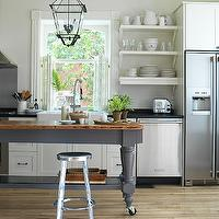 Lovely open kitchen design with pale gray walls paint color, creamy white kitchen ...