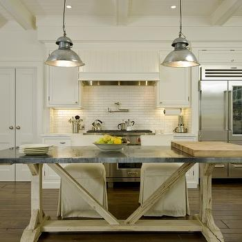 Arcanum Architecture - kitchens - ivory, box beams, beadboard, ceiling, industrial, pendants, pot filler, ivory, kitchen cabinets, ivory, linear, tiles, backsplash, trestle island, trestle kitchen island,