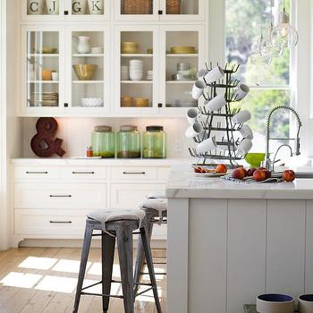 BHG - kitchens - glass-front, white, kitchen cabinets, marble, countertops, tolix stool, tolix stools, Tolix Marais Stool,  Eclectic kitchen