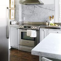 Style at Home - kitchens - white, kitchen cabinets, stainless steel, countertops, white, kitchen island, marble slab, countertop, backsplash,