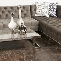 Seating - Charcoal Velvet Hollywood Sectional - Sectional