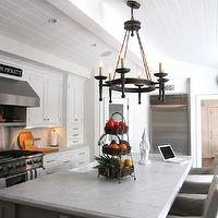 Classic Casual Home - kitchens - iron, chandelier, glossy, white, beadboard, white, kitchen cabinets, kitchen island, marble, countertops, beadboard ceiling, white beadboard ceiling, kitchen beadboard, kitchen beadboard ceiling, beadboard kitchen ceiling, beadboard ceiling kitchen,