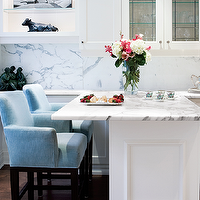 Style at Home - kitchens - blue, counter stools, white, glass-front, kitchen cabinets, kitchen island, peninsula, marble, slab, backsplash,