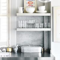 Style at Home - kitchens - white, kitchen cabinets, stainless steel, countertops, marble, slab, backsplash, white, floating, shelves,  Sweet