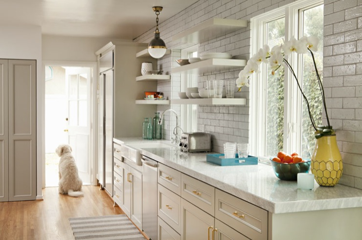 Bonesteel Trout Hall - kitchens - Thomas O'Brien Hicks Pendant, West Elm Yellow Hive Vase, glossy, gray, painted, kitchen cabinets, marble, countertops, farmhouse, sink, subway tiles, backsplash, white, floating shelves, white, gray, striped, rug, doggy, light gray cabinets, light gray kitchen cabinets,