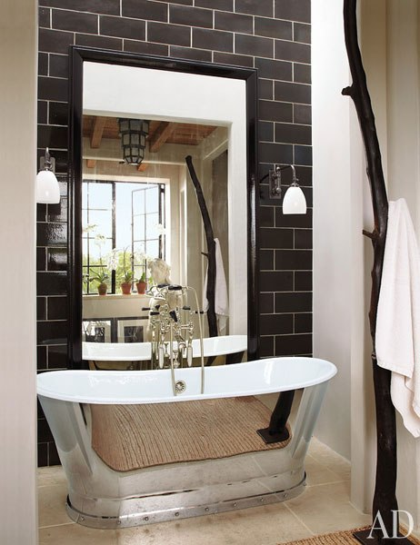 Black subway tiles contemporary bathroom for Architectural digest bathroom ideas